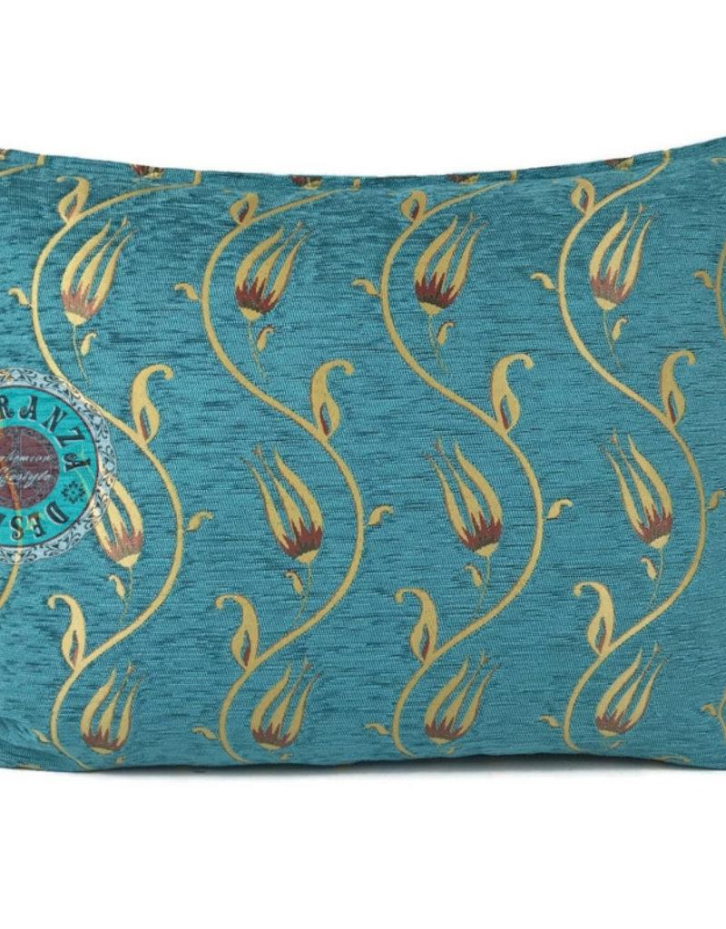 Boho Esparanza Boho Kussen Flower string Turquoise/Geel 50x70cm,incl.binnenkussen
