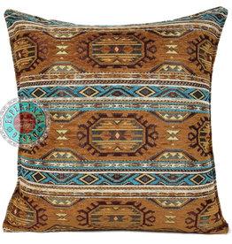 Boho Kussen Maya Camel/Turquoise 45x45cm,incl.binnenkussen