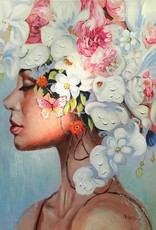 Olieverfschilderij Girl with Flowers 90x120cm TH