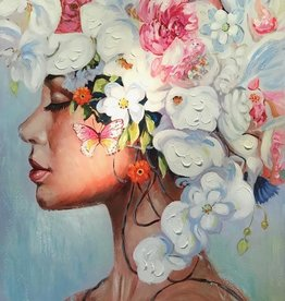 Olieverfschilderij Girl with Flowers 90x120cm TH