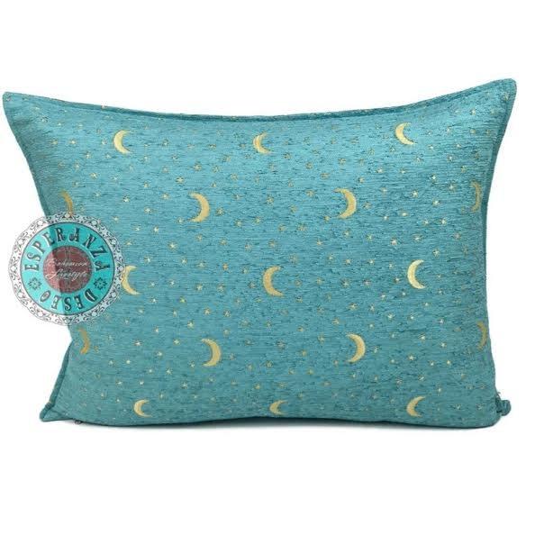 Boho Esperanza Kussens Boho Kussen Stars&Moons Turquoise 50x70cm,incl.binnenkussen