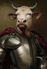 Glasschilderij Knight Bull 80x80cm