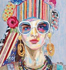 Olieverfschilderij Hippie Girl 90x120cm