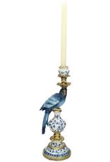Candle Stick Bird Blue B 40x13x15cm