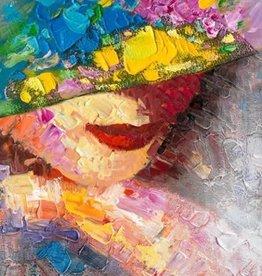 Olieverfschilderij Lady with Hat 80x120cm  TH
