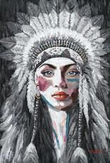 Olieverfschilderij  Woman with Feather Headdress 90x120cm TH DS