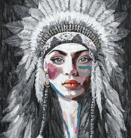 Olieverfschilderij  Woman with Feather Headdress 90x120cm TH