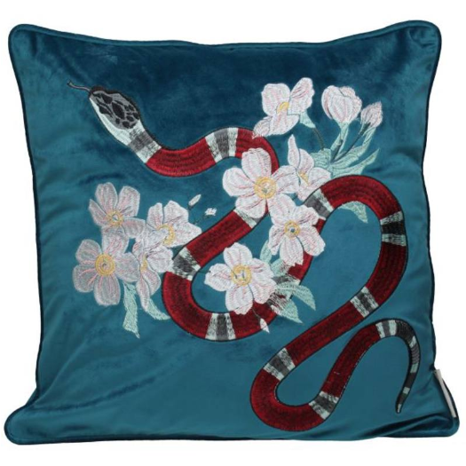 Cushion Velvet Snake Petrol 45x45cm Incl.Binnenkussen