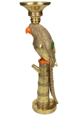 Candle Holder Bird Polyresin Gold 37x9x12cm