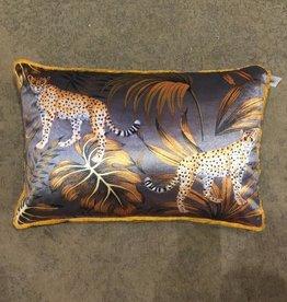 Cushion Leopard Velvet Grey 40x60cm Incl Binnenkussen