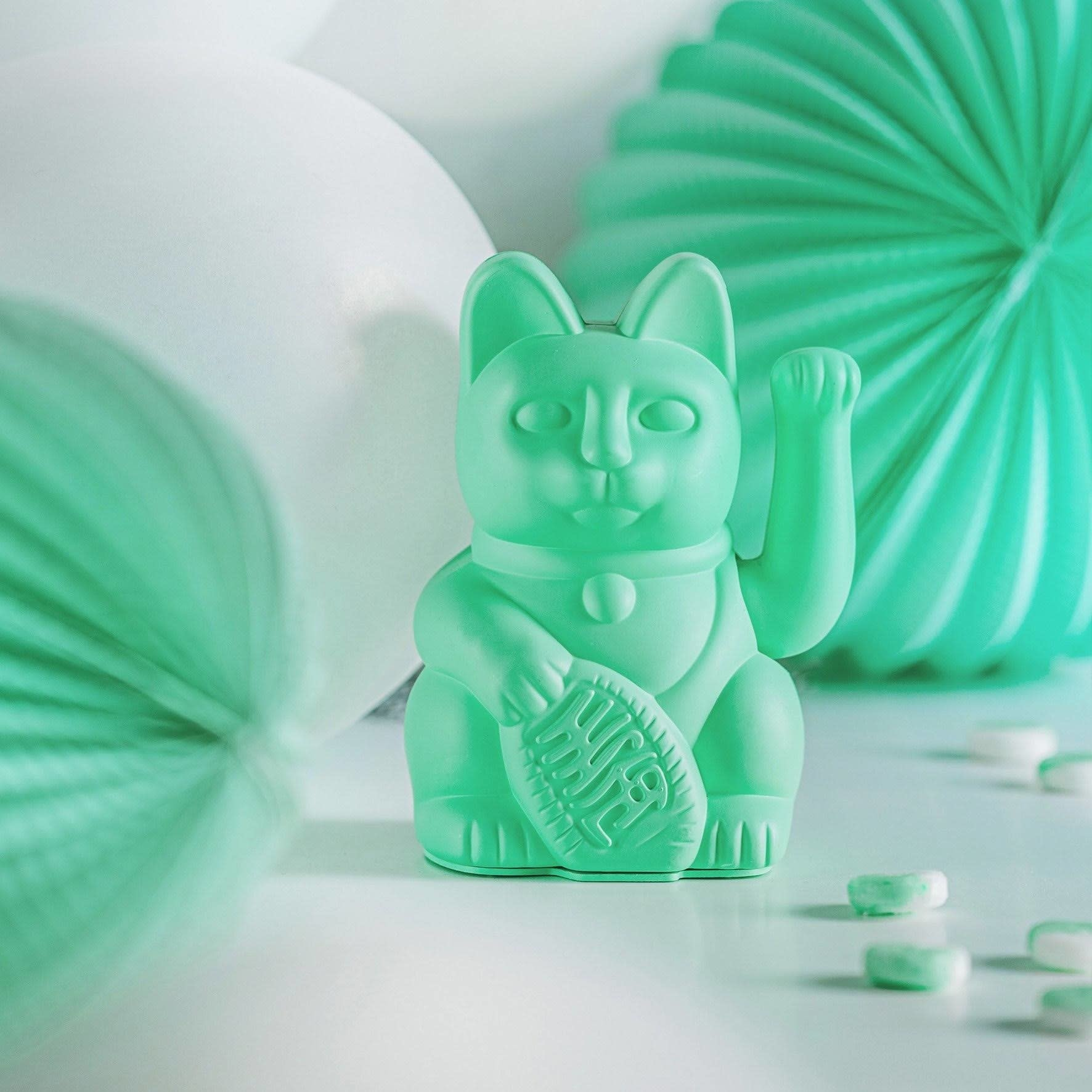 Donkey products Donkey Lucky Cat ,without battery,plastic Mint Green 10,5x8,5x15cm