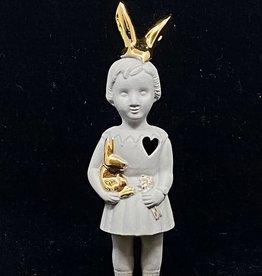 Lammers&Lammers Lammers&Lammers Bunny Grijs met Gouden Konijnen Oortjes 14cm