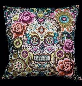 TLSierkussen Velvet Skull Rafaello Multicolor Green 45x45cm Incl, Binnenkussen
