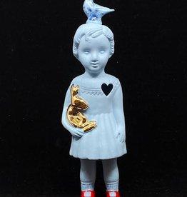 Lammers&Lammers Pupke Blauw met Duif Delftsblauw 20cm