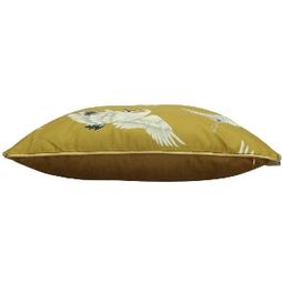 Kussen met Kraanvogels.Yellow 45x45cm Incl binnenkussen 45x45cm Incl binnenkussen