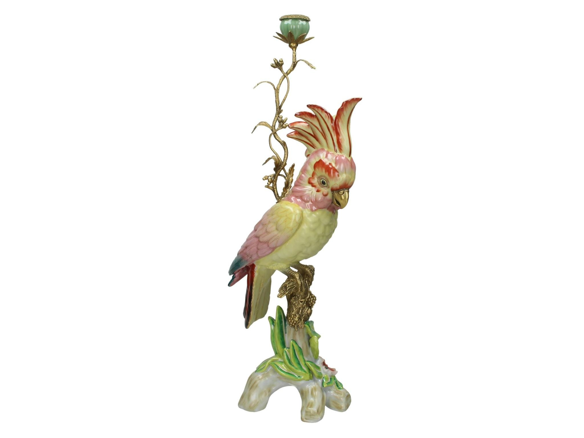 Candle Holder Cockatoo Fine Earthenware Pink 24x17x59cm