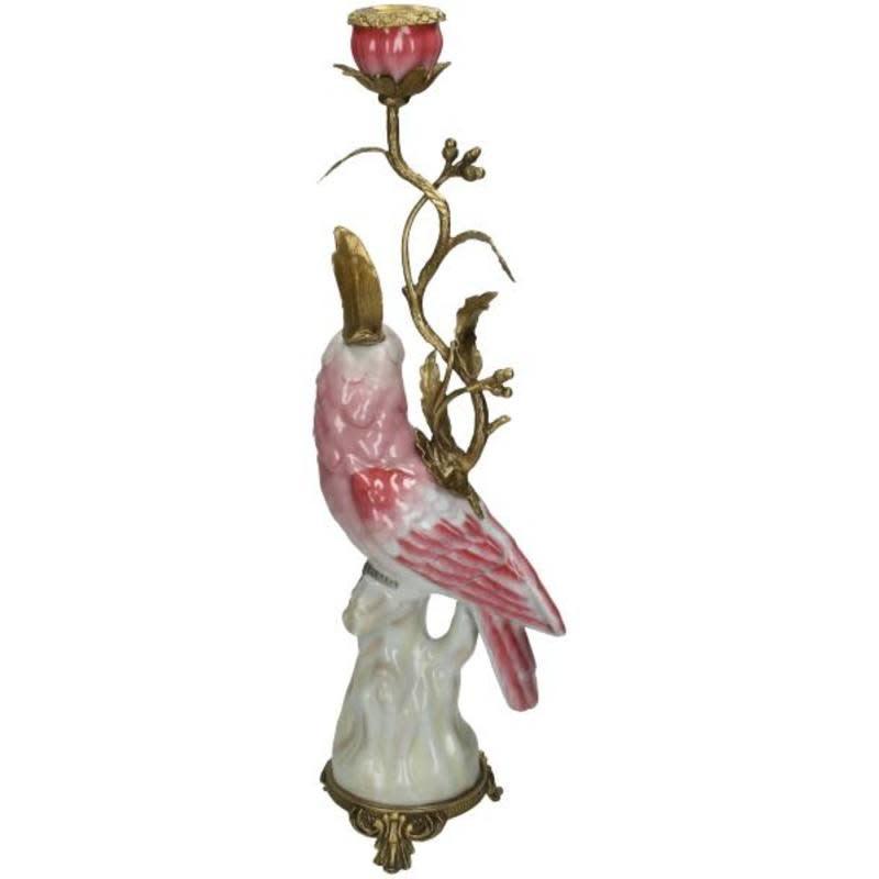 Kandelaar met vogel van fijn aardewerk Pink 15,5x10x42cm