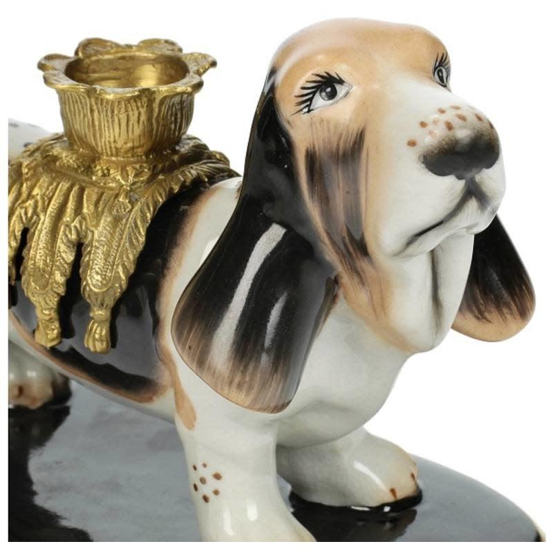 Kandelaar met Hond van fijn aardewerk Bruin A19x10x13cm