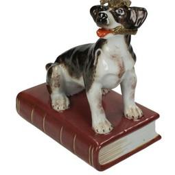 Kandelaar met Hond van fijn aardewerk Bruin B 14x9x24cm