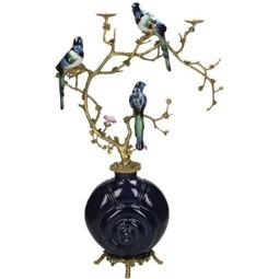 Ornament met vogels van fijn aardewerk,blauw,41x19x64cm