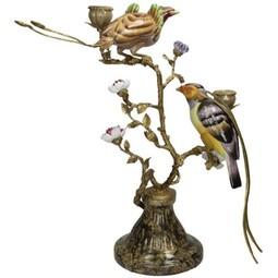 Kandelaar met vogels van fijn aardewerk,Multicolor,48x34x48cm
