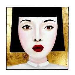 Painting Jingjing Multicolor Acryl op Canvas 100x100cm