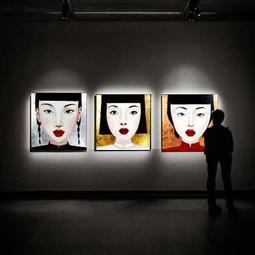 Schilderij Jingjing Multicolor Acryl op Canvas 100x100cm