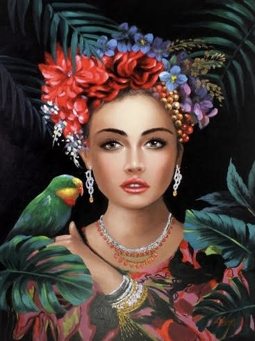 Painting op Canvas Woman with Parrot 90x120cm WV