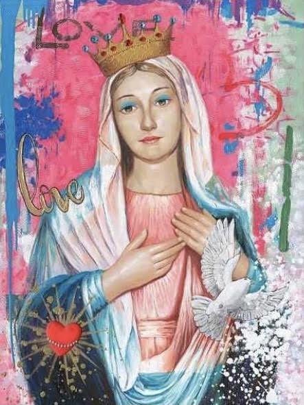 Olieverfschilderij op Canvas  Maria 90x120cm