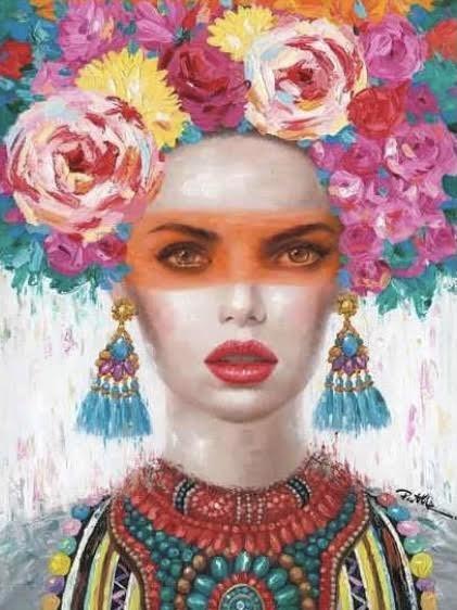 Olieverfschilderij op Canvas Woman Orange Mask 90x120cm