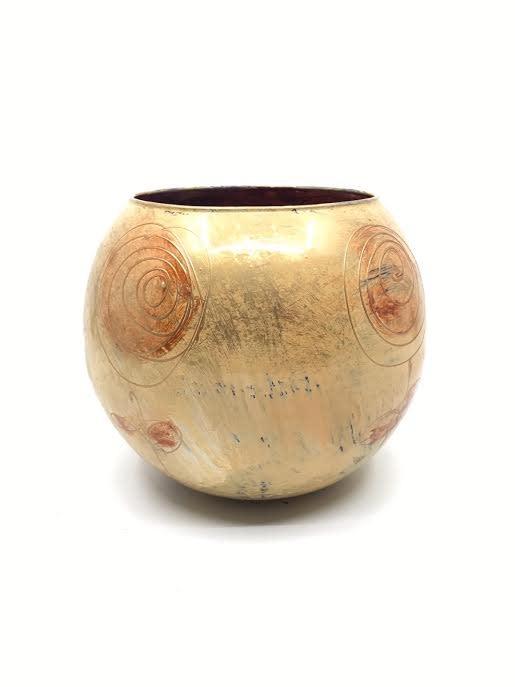 Gilazi Handbeschilderde Vaasjes Oker en Mint 13cm