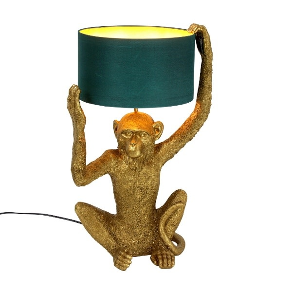 Tafellamp Chimpy Goud/Petrol 3.5x30.5x57cm