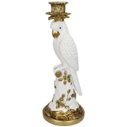 Candle Stick Bird White C 36x14x14cm