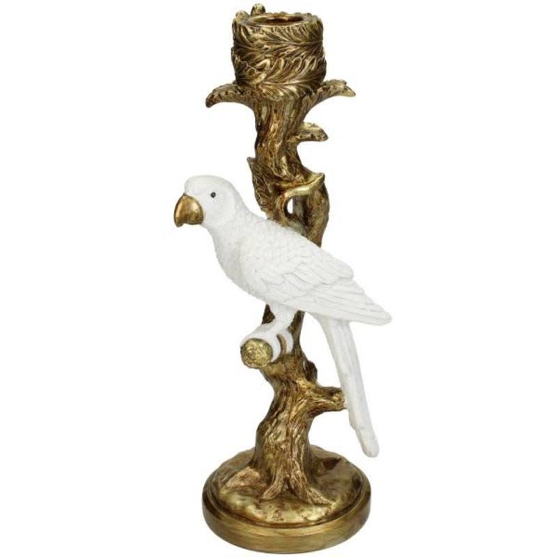 Candle Stick Bird White D 26x9x11cm