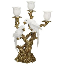 Candle Stick two Birds White 38x13x23cm