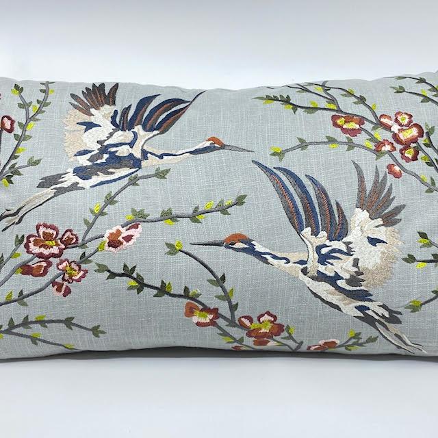DigaC. Kussen Birds&Flowers  Grijs 60x35cm