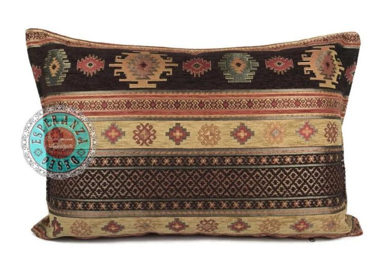 Boho Esperanza Kussens Boho Kussen Aztec Oker Brown 50x70cm,incl.binnenkussen