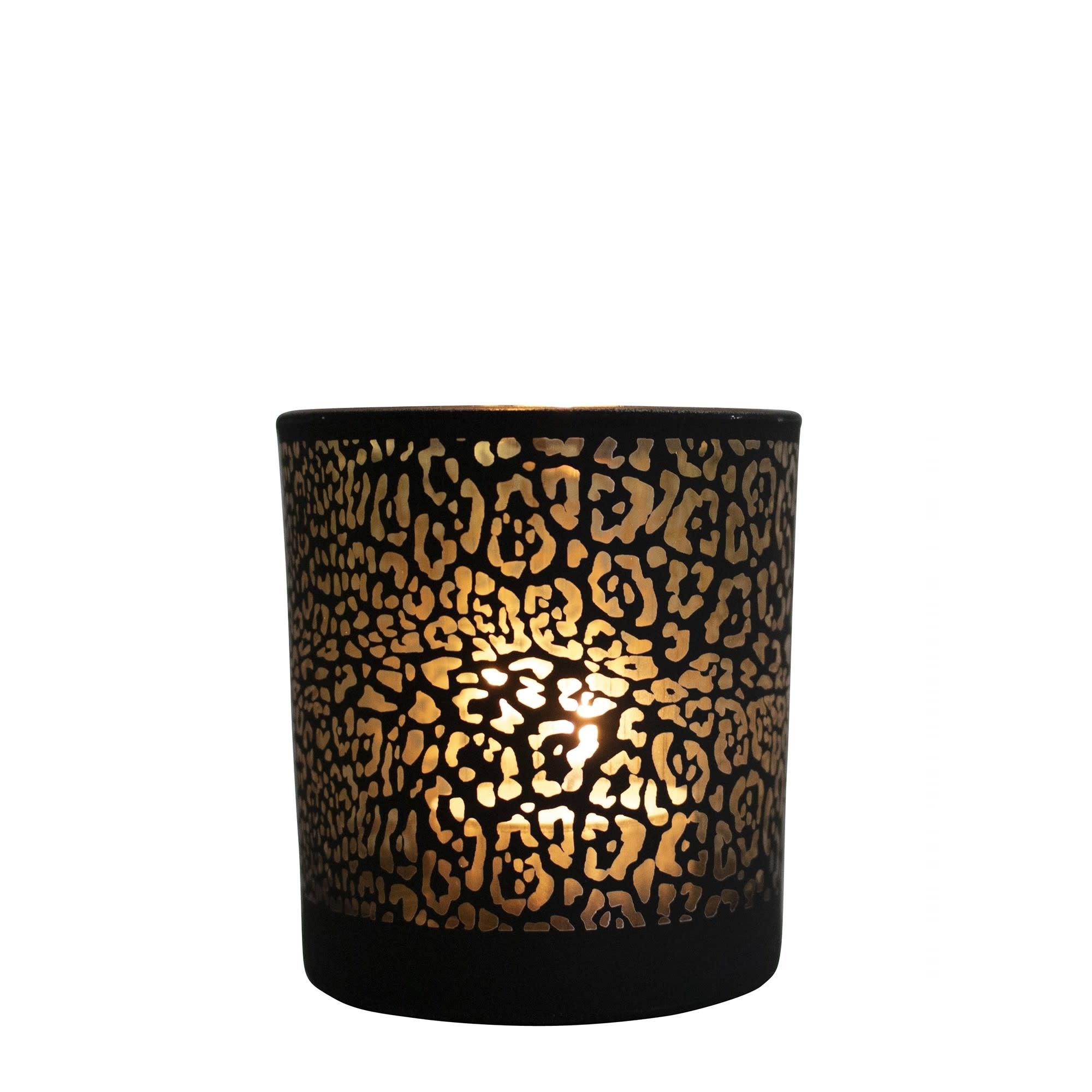 Mars Waxinelichthouder  Jaguar print Mat Zwart  Small