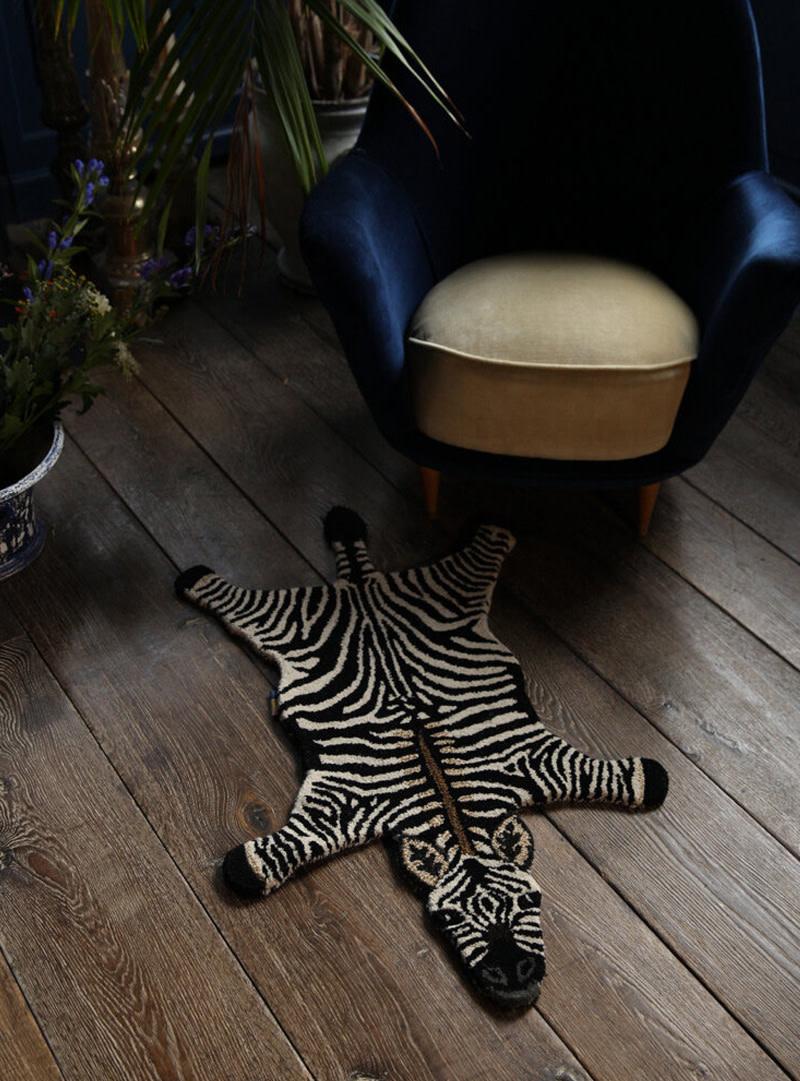 Doing Goods Doing Goods Stripey Zebra Rug Large Wool 153 x 110 x 2cm