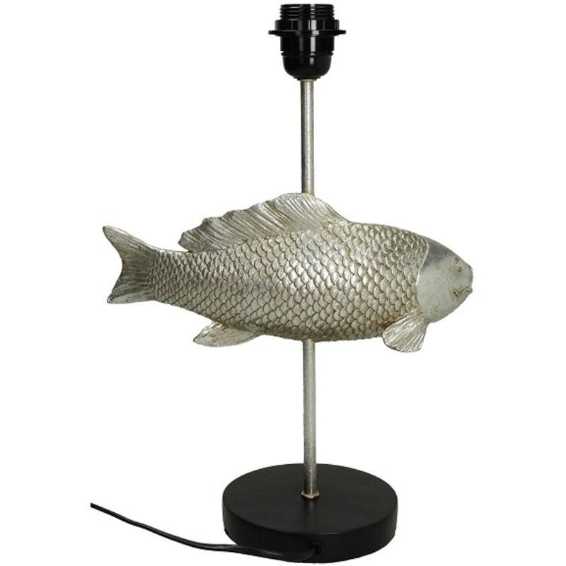 Table lamp Fish polyresin Silver   met zwarte kap 29x23x55cm
