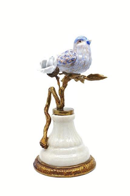 Melting Pot Amsterdam Melting Pot Amsterdam Vogel op Tak Blauw en Witte Roos  B 14,5x10,5x22cm