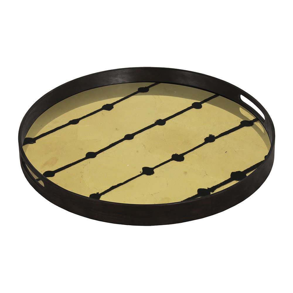 Brown dots glass tray-2