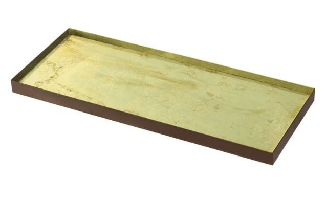 Gold leaf glass tray-1