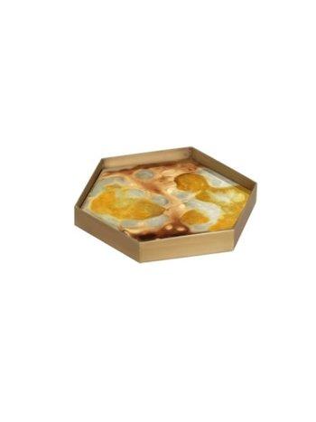 Ethnicraft Yellow organic mini glass tray