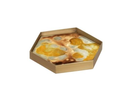 Yellow organic mini glass tray-1
