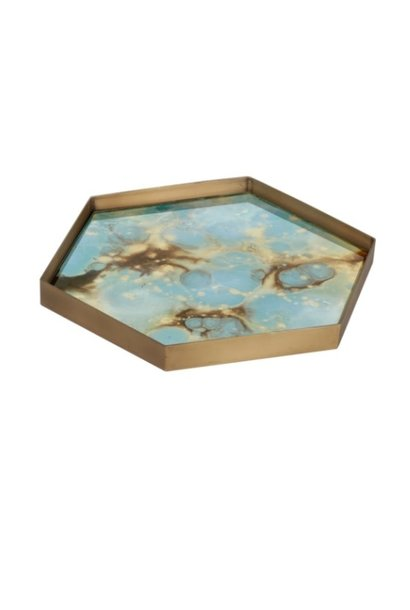 Teal organic mini glass tray