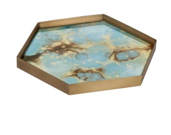Teal organic mini glass tray-1