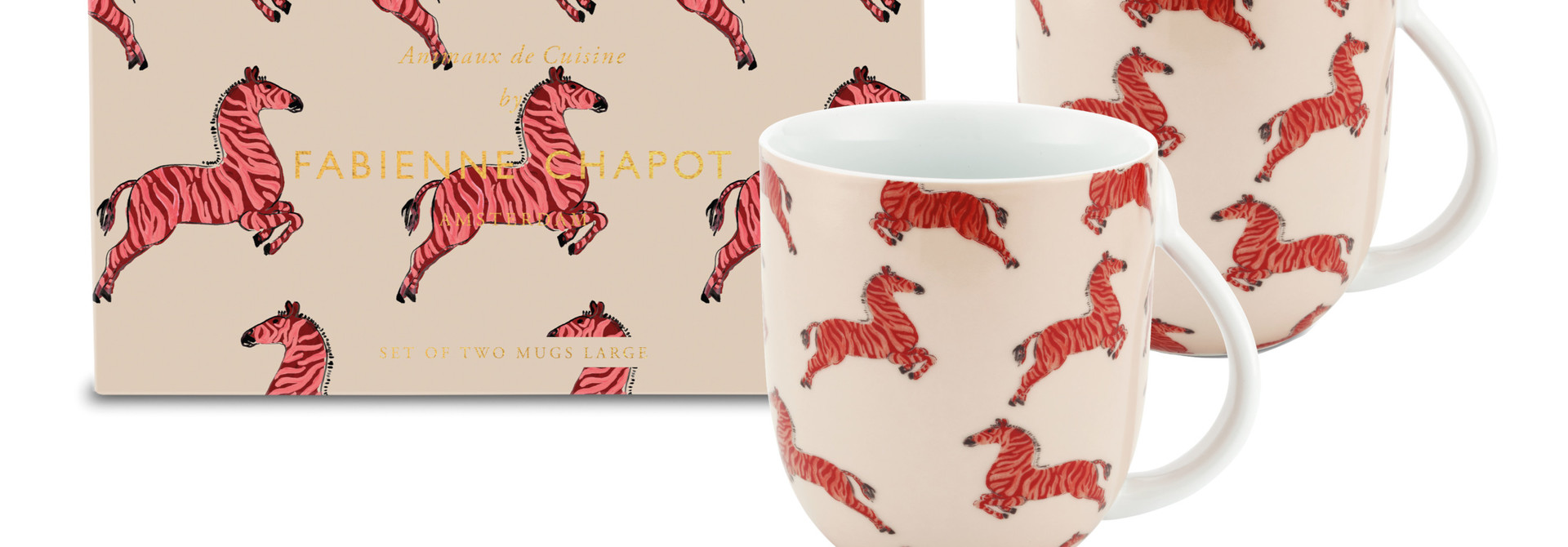 Set/2 Mugs Large Zebra
