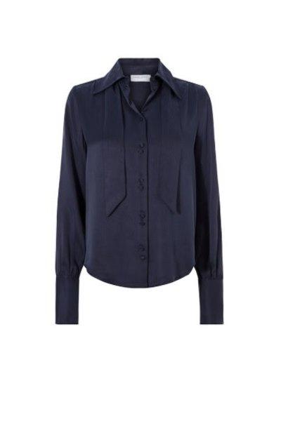Paris solid blouse blue