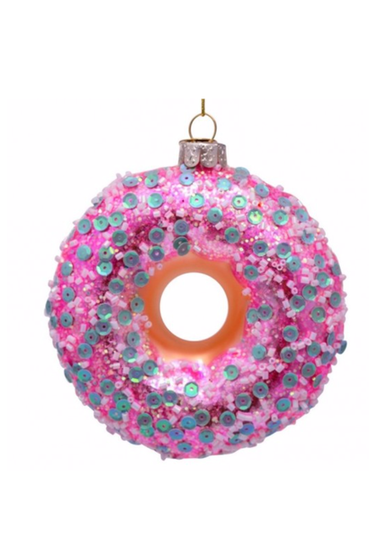 Kersthanger  pink donut white mint